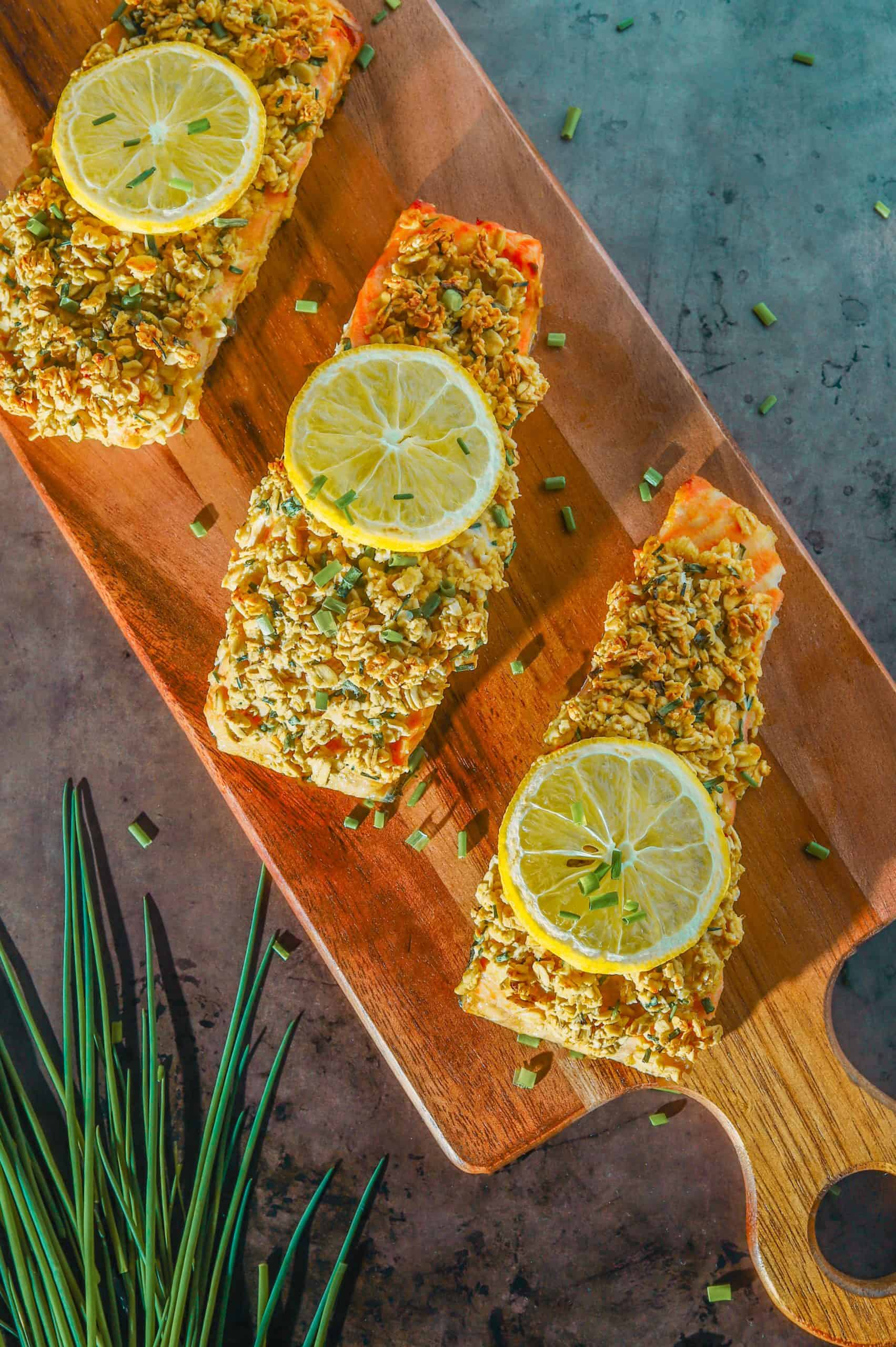 mustard crusted salmon with oats