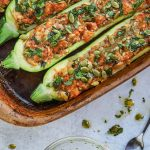 stuffed zucchini in a baking dish