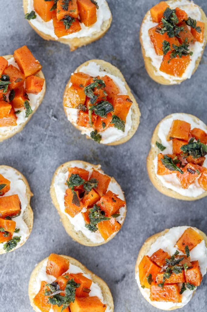 butternut squash crostini with sage and ricotta