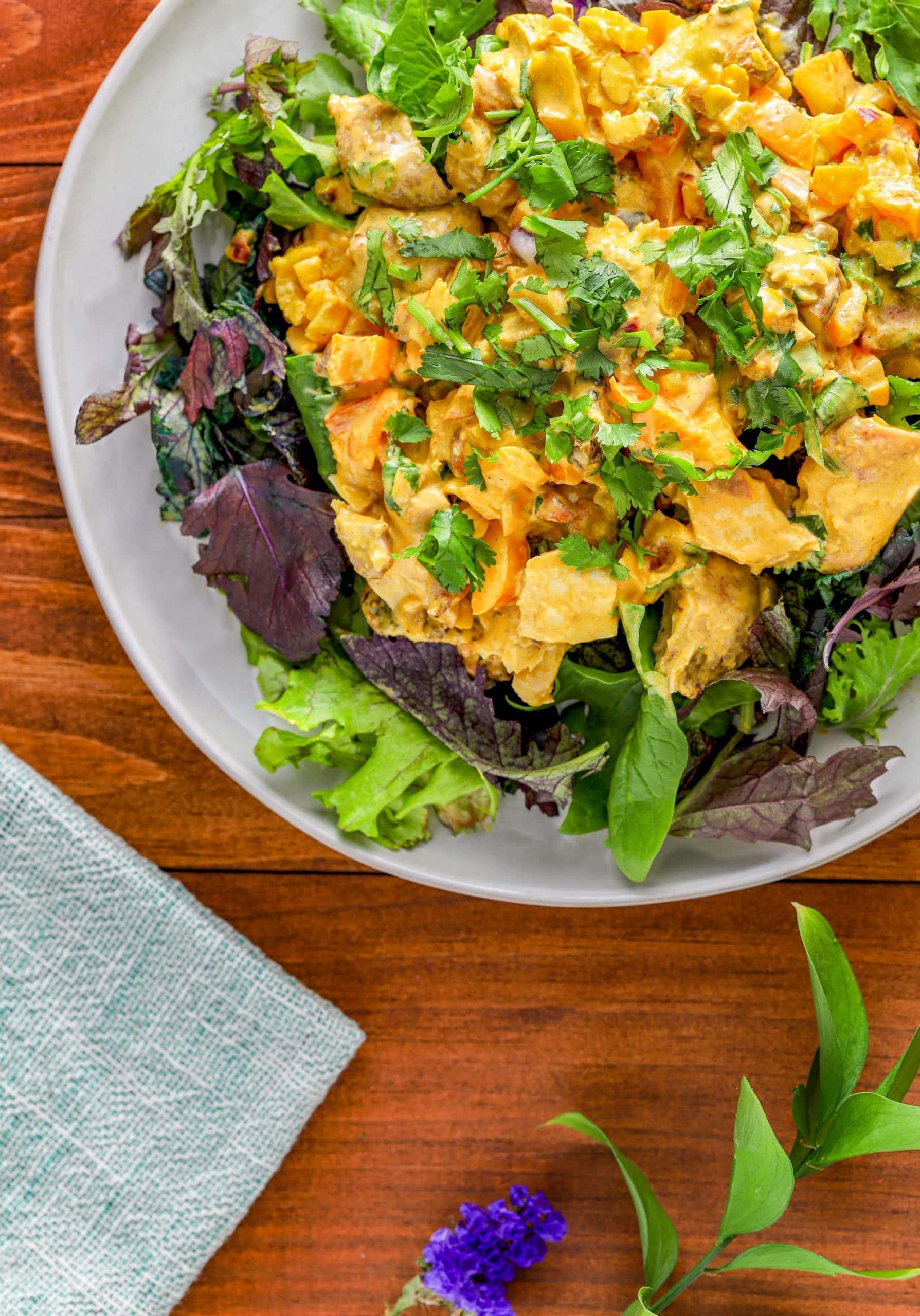 coronation chicken salad on plate