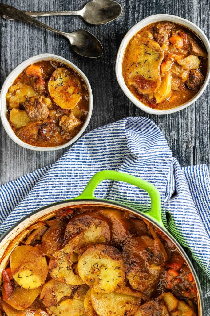 beef and stout hot pot in bowls and pot