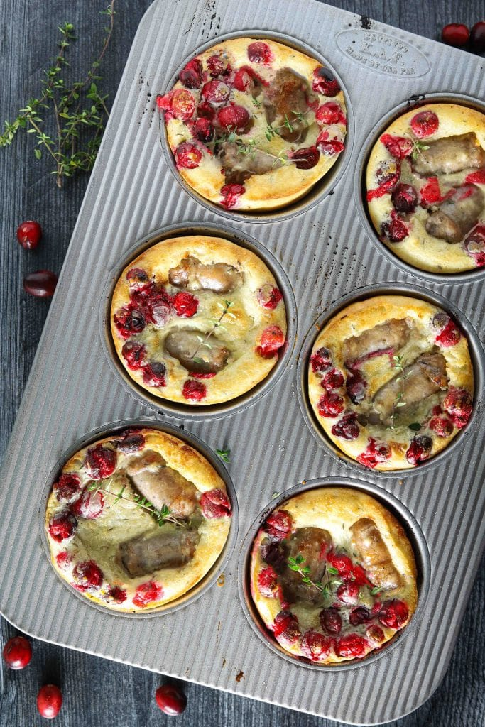 fresh cranberries baked with sausage in tin