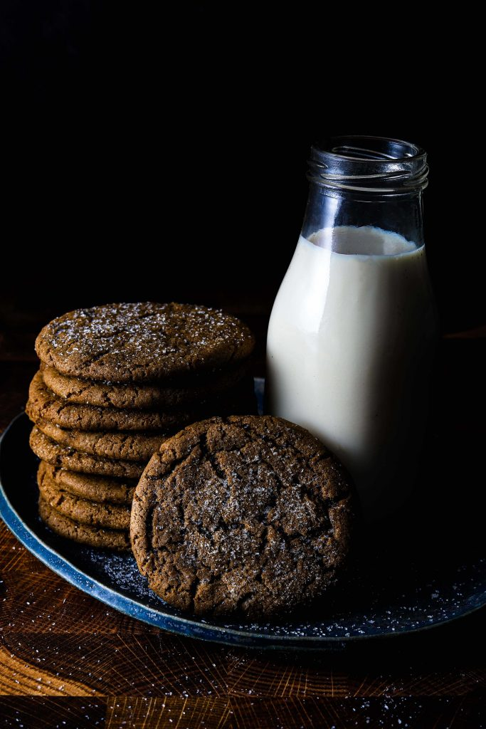 stack of ginger snaps with milk