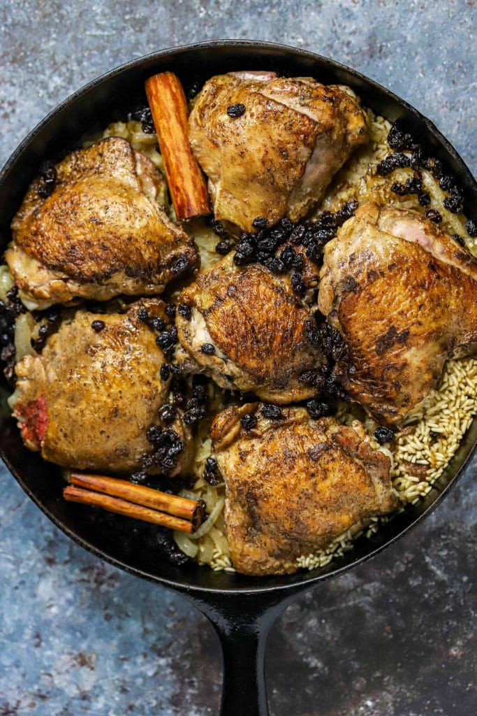 pan with cardamom chicken and rice
