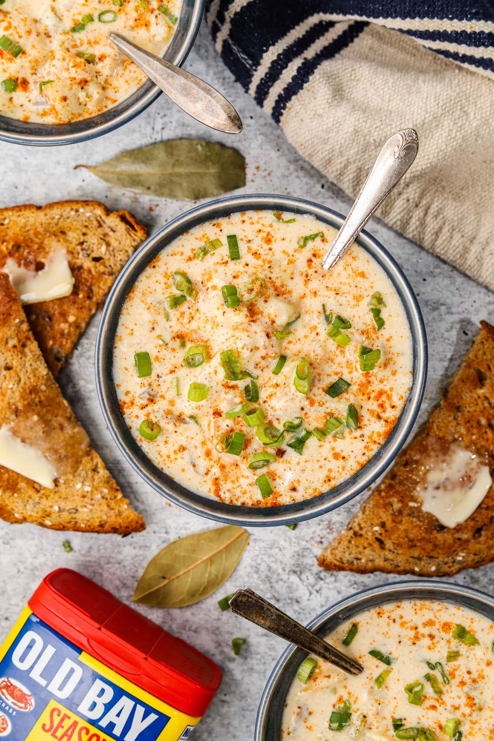 bowls of seafood newburg soup