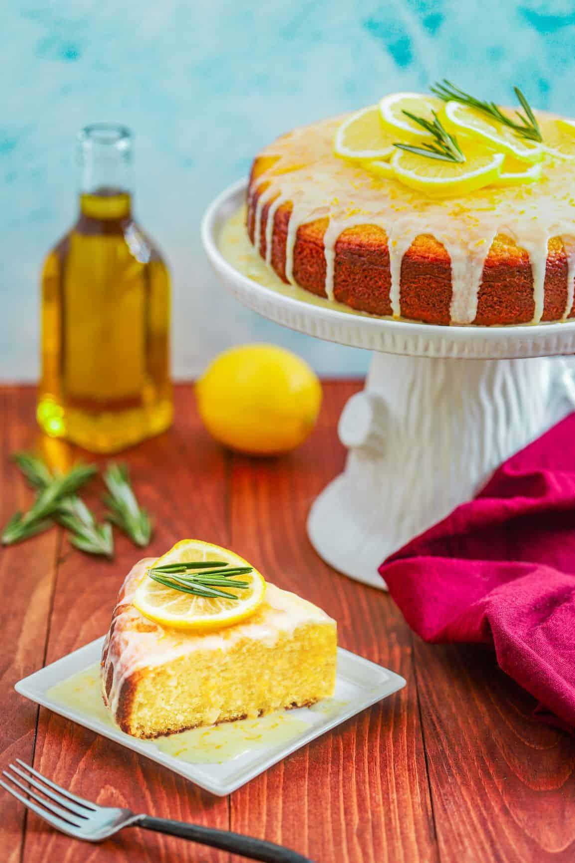 slice of lemon rosemary olive oil cake