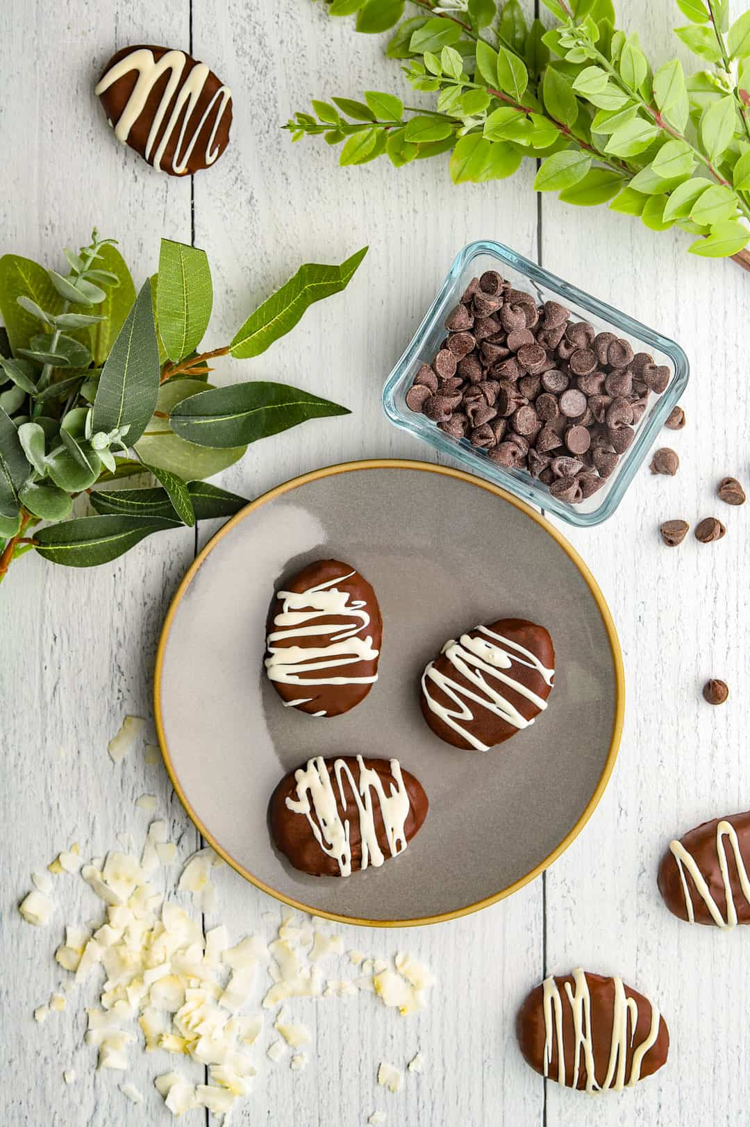 chocolate lavender eggs on plate