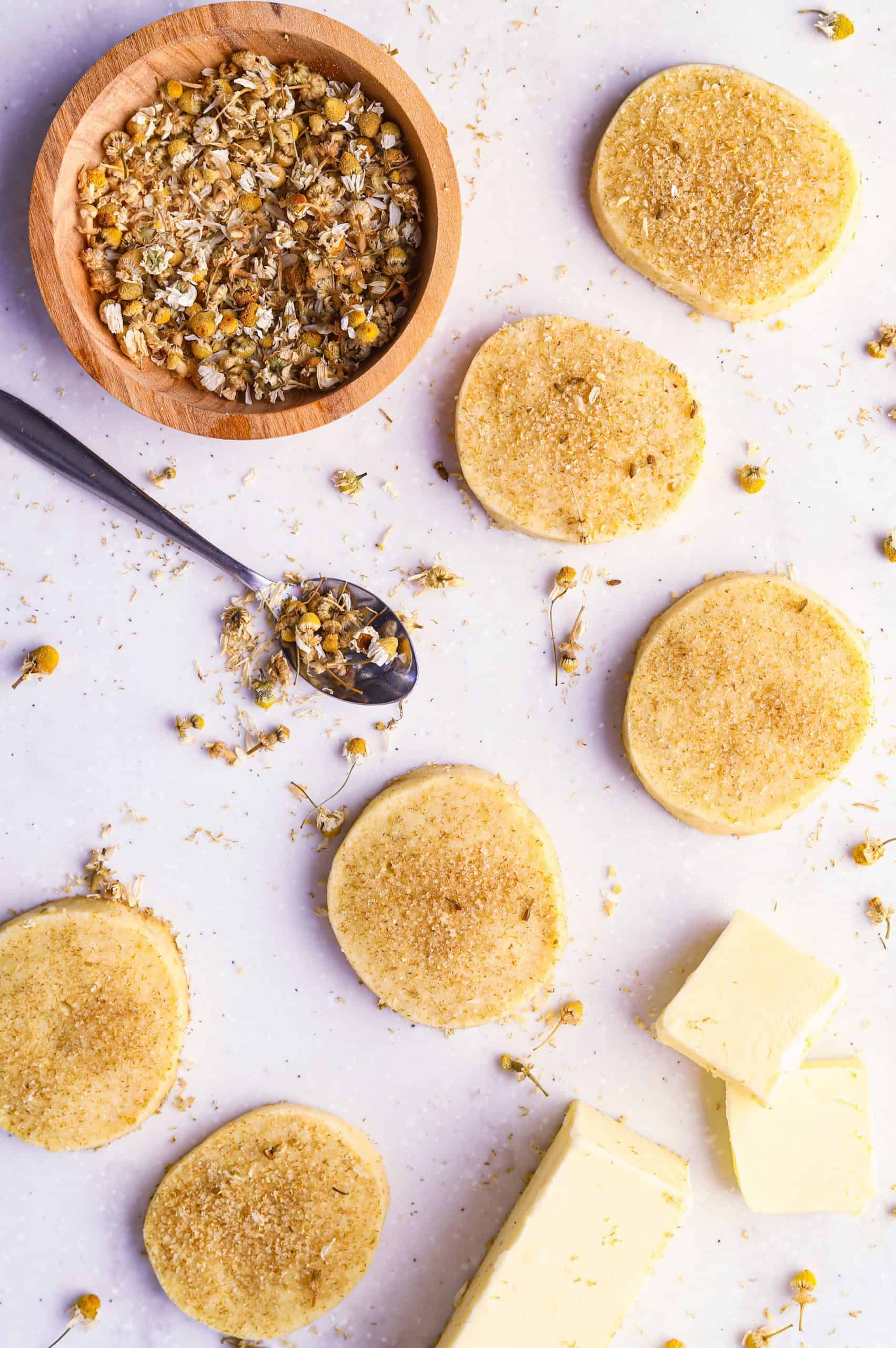 chamomile cookies with butter and chamomile flowers