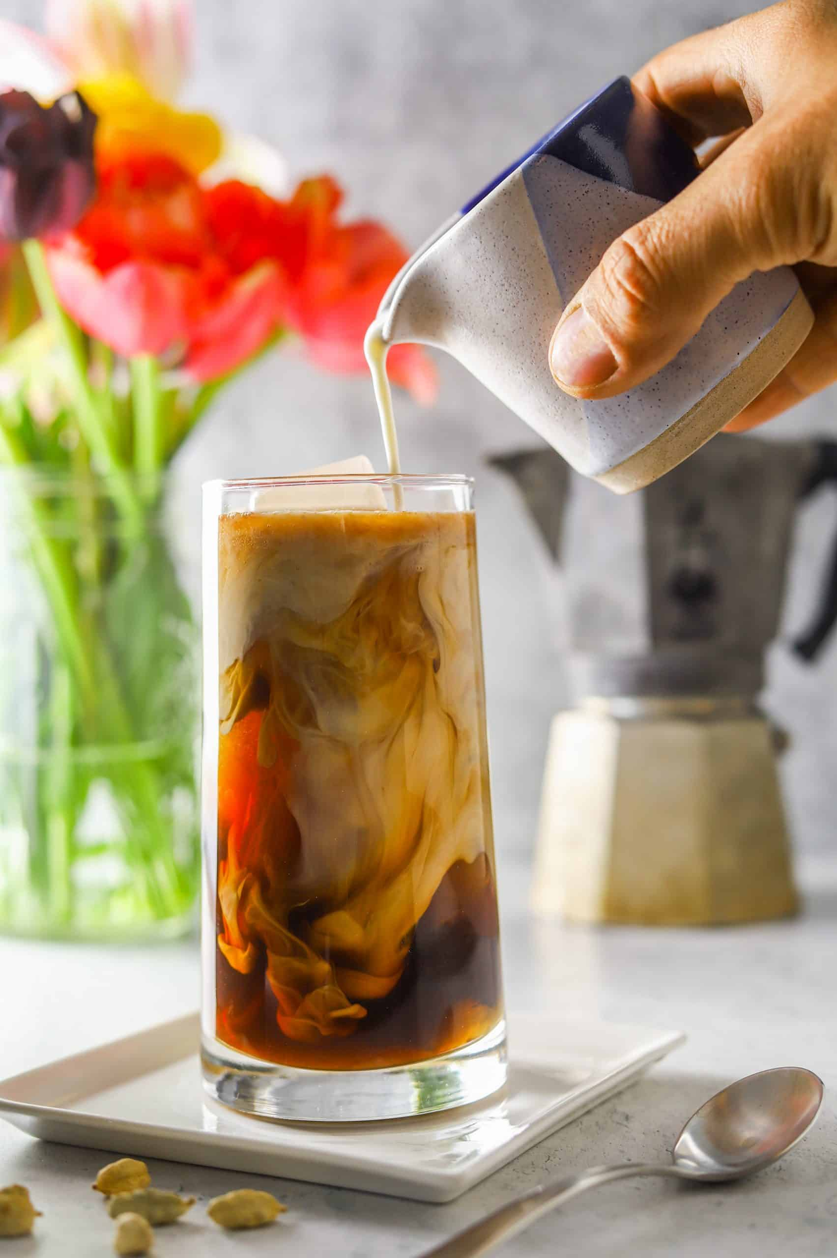thai coffee iced in a glass