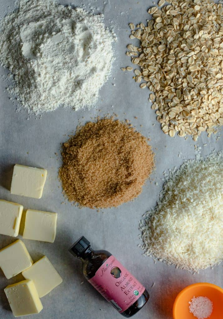 ingredients for crumble laid out