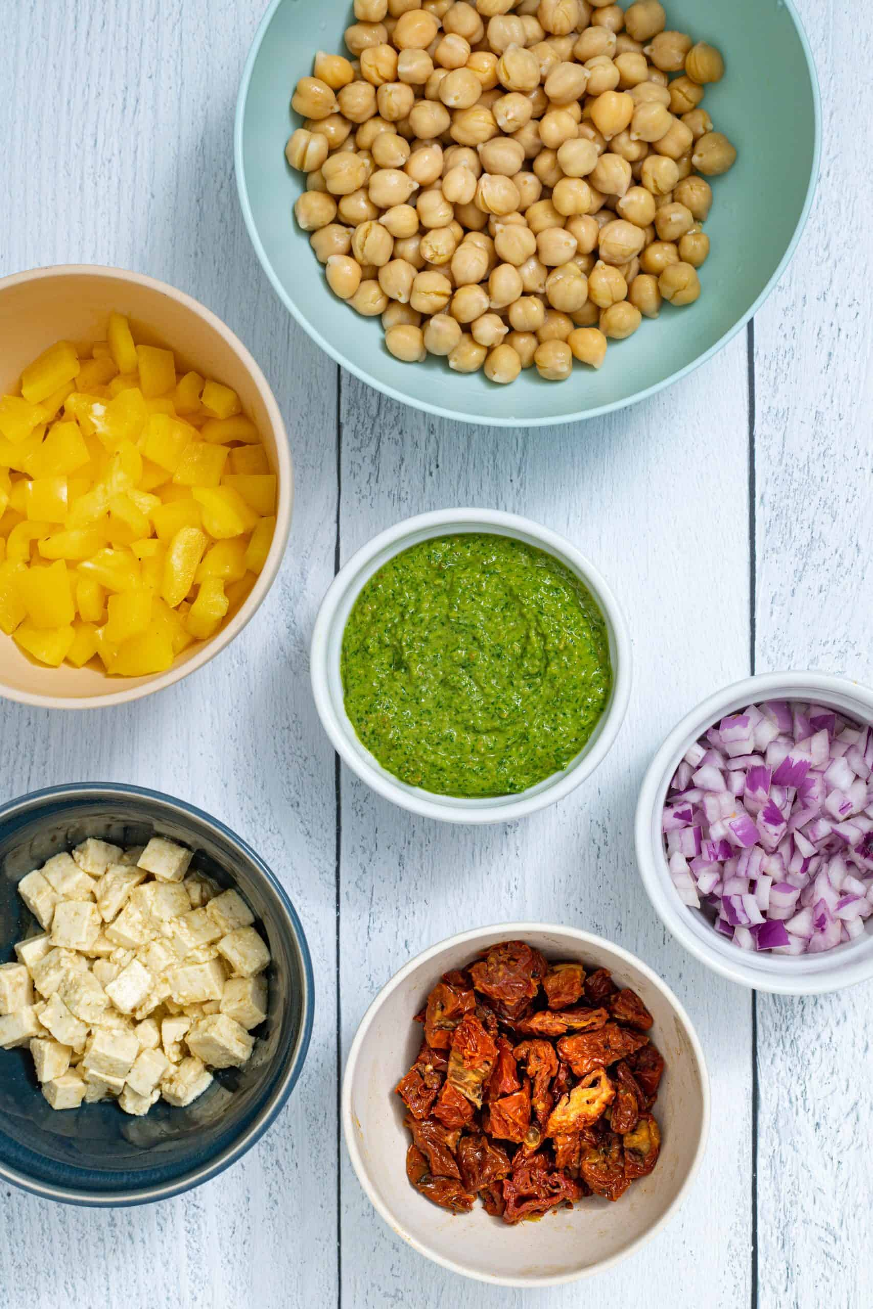 the ingredients for making pasta salad