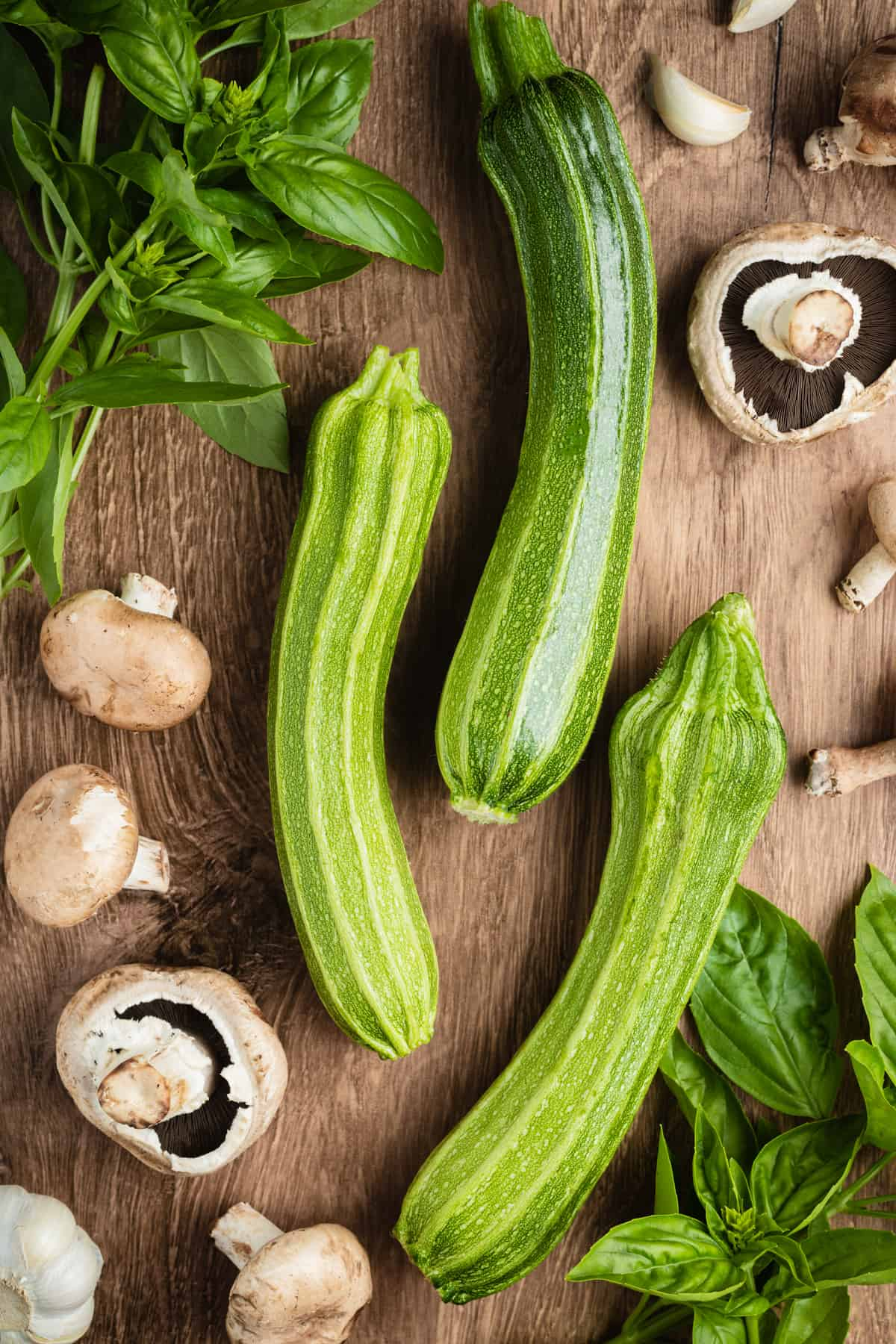 mushrooms, zucchini and basil