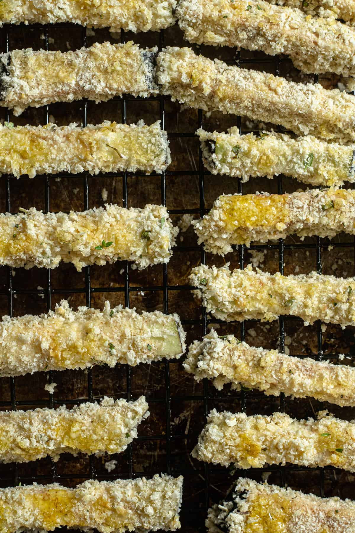 unbaked eggplant fries ready for cooking