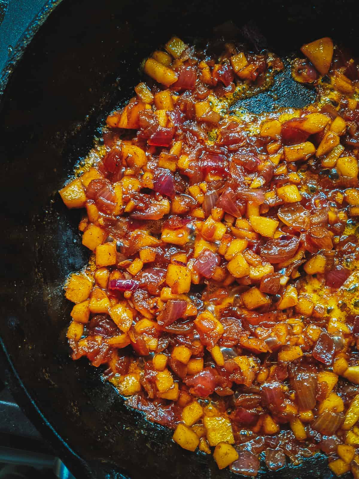 bacon jam cooking in a pan