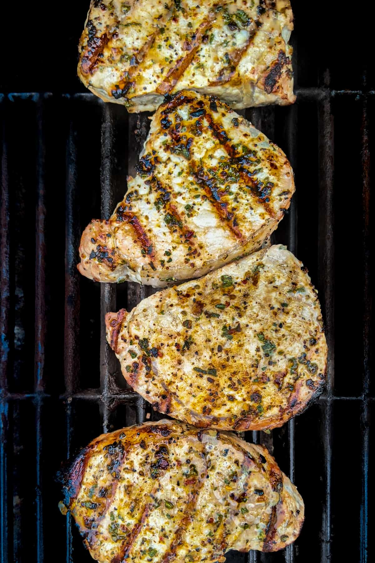 grilled pork chops on a grill